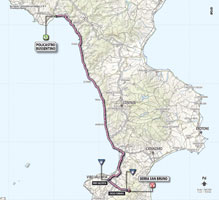 The map with the race route of the 4th stage of the Giro d'Italia 2013