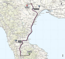 The map with the race route of the 5th stage of the Giro d'Italia 2013