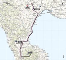 La carte du parcours de la 5ème étape du Giro d'Italia 2013