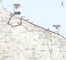 The map with the race route of the 6th stage of the Giro d'Italia 2013