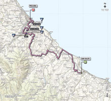 The map with the race route of the 7th stage of the Giro d'Italia 2013
