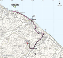 The map with the race route of the 8th stage of the Giro d'Italia 2013