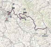 The map with the race route of the 9th stage of the Giro d'Italia 2013