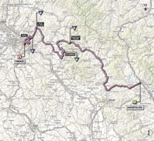 La carte du parcours de la 9ème étape du Giro d'Italia 2013