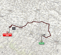 The map with the race route of the 10th stage of the Tour of Italy 2014