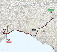 The map with the race route of the 11th stage of the Tour of Italy 2014