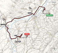 The map with the race route of the 12th stage of the Tour of Italy 2014