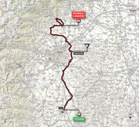 The map with the race route of the 13th stage of the Tour of Italy 2014