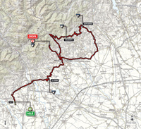 The map with the race route of the 14th stage of the Tour of Italy 2014