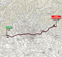 The map with the race route of the 15th stage of the Tour of Italy 2014