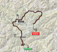 The map with the race route of the 16th stage of the Tour of Italy 2014