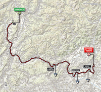 The map with the race route of the 17th stage of the Tour of Italy 2014
