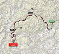 The map with the race route of the 18th stage of the Tour of Italy 2014