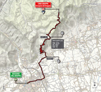 The map with the race route of the 19th stage of the Tour of Italy 2014