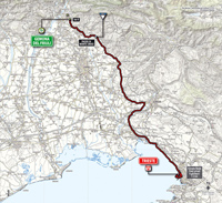 The map with the race route of the 21st stage of the Tour of Italy 2014