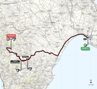 The map with the race route of the 5th stage of the Tour of Italy 2014