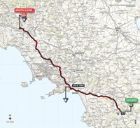 The map with the race route of the 6th stage of the Tour of Italy 2014
