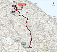 The map with the race route of the 8th stage of the Tour of Italy 2014