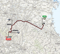 The map with the race route of the 9th stage of the Tour of Italy 2014