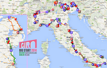 The map with the race route of the Tour of Italy 2014