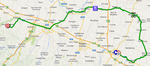 The map with the race route of the tenth stage of the Giro d'Italia 2014 on Google Maps