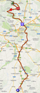 The map with the race route of the thirteenth stage of the Giro d'Italia 2014 on Google Maps