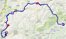 The map with the race route of the eighteenth stage of the Giro d'Italia 2014 on Google Maps