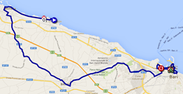 The map with the race route of the fourth stage of the Giro d'Italia 2014 on Google Maps