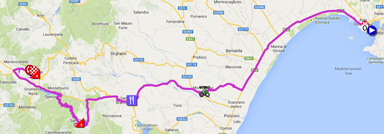 The map with the race route of the fifth stage of the Giro d'Italia 2014 on Google Maps