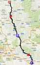 The map with the race route of the seventh stage of the Giro d'Italia 2014 on Google Maps