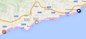 The map with the race route of the first stage of the Giro d'Italia 2015 on Google Maps