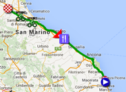 The map with the race route of the tenth stage of the Giro d'Italia 2015 on Google Maps