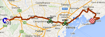 The map with the race route of the thirteenth stage of the Giro d'Italia 2015 on Google Maps