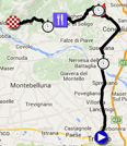 The map with the race route of the fourteenth stage of the Giro d'Italia 2015 on Google Maps