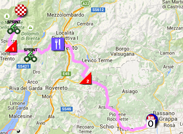 The map with the race route of the fifteenth stage of the Giro d'Italia 2015 on Google Maps