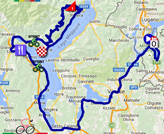 The map with the race route of the eighteenth stage of the Giro d'Italia 2015 on Google Maps
