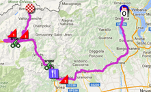 The map with the race route of the nineteenth stage of the Giro d'Italia 2015 on Google Maps