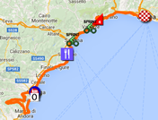 The map with the race route of the second stage of the Giro d'Italia 2015 on Google Maps