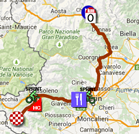 The map with the race route of the twenteeth stage of the Giro d'Italia 2015 on Google Maps