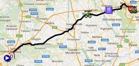 The map with the race route of the twentyfirst stage of the Giro d'Italia 2015 on Google Maps