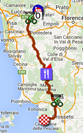 The map with the race route of the sixth stage of the Giro d'Italia 2015 on Google Maps