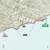 De kaart met het parcours van de 1ste etappe van de Ronde van Italië 2015