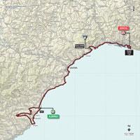 De kaart met het parcours van de 2de etappe van de Ronde van Italië 2015