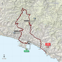 The map with the race route of the 3rd stage of the Tour of Italy 2015