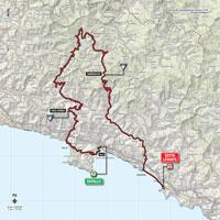De kaart met het parcours van de 3de etappe van de Ronde van Italië 2015