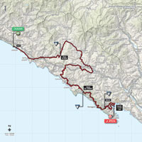The map with the race route of the 4th stage of the Tour of Italy 2015