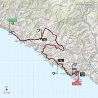 De kaart met het parcours van de 4de etappe van de Ronde van Italië 2015