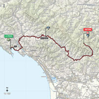 The map with the race route of the 5th stage of the Tour of Italy 2015