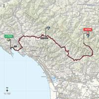 De kaart met het parcours van de 5de etappe van de Ronde van Italië 2015