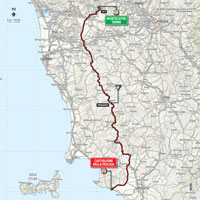 The map with the race route of the 6th stage of the Tour of Italy 2015
